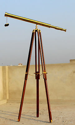 Antique Style Nautical Solid Brass Telescope W/ Tripod Marine Collectible Item.
