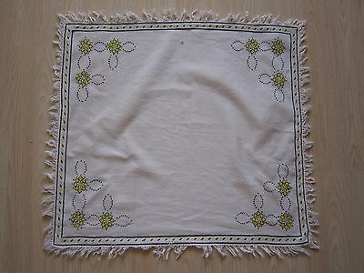Hand Embroidery Linen Tablecloth Table Home Decor Tea Yellow Flowers # 1950