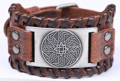 Ancient Talisman Slavic Kolovrat Celtic Knot Metal Charm Brown Leather Bracelet
