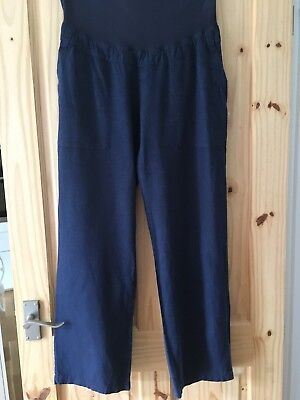 Maternity Trousers 14 Mothercare Summer Dark Blue cool Linen Blooming Marvellous