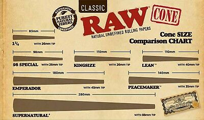 Cone Natural Unrefined Rolling Papers 98 Special 20 Cones Unflavored Pack Of 1