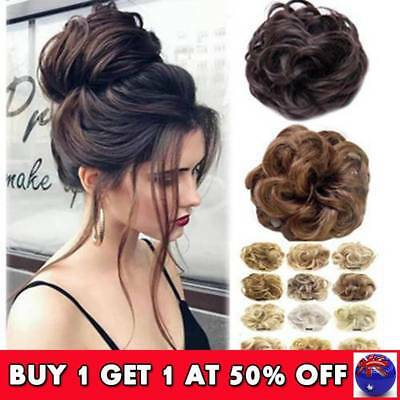 Bun Up Do Hair Piece Ponytail Extensions Wavy Natural Curly Messy Scrunchie