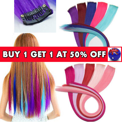 """8Pcs HAIR EXTENSION Long 22"""" Clip in Hair Piece Highlight Straight Can Curled AU"""