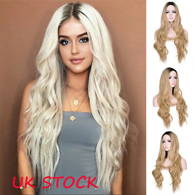 24'' Ombre Hair Blonde White Full Wig Synthetic Wavy Long Flaxen  For Women UK