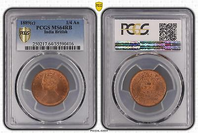1889c MS64RB India British 1/4 An PCGS GRADED Ch UNC