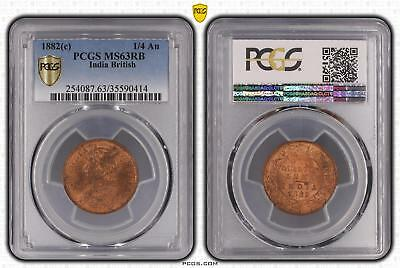 1882c MS63RB India British 1/4 An PCGS GRADED Ch UNC