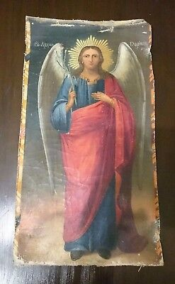 "Antique Russian Orthodox Icon "" Archangel Gabriel "" in Canvas 19th century"