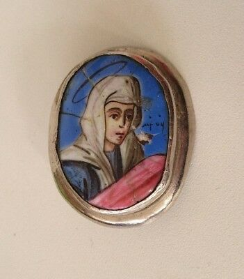 Antique Russian Orthodox Icon Finift Virgin 19th century.