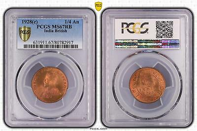 1928c MS67RB India British 1/4 An PCGS GRADED FDC UNC