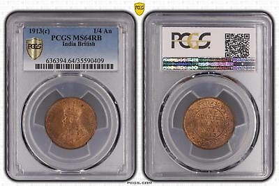1913c MS64RB India British 1/4 An PCGS GRADED Ch UNC