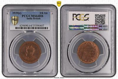 1939c MS64RB India British 1/4 An PCGS GRADED Ch UNC