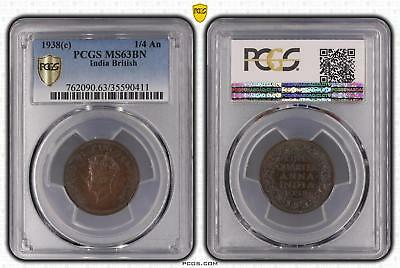 1938c MS63BN India British 1/4 An PCGS GRADED Ch UNC