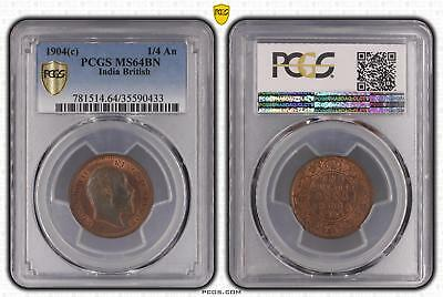 1904c MS64BN India British 1/4 An PCGS GRADED Ch UNC