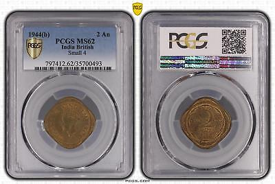 1944b MS62 India British 2 An Small 4 PCGS GRADED UNC