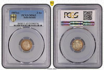 1907c MS63 India British 2 An PCGS GRADED Ch UNC