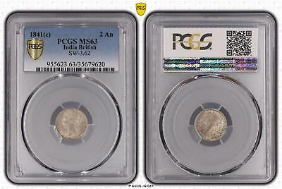 1841c MS63 India British 2 An PCGS GRADED Ch UNC