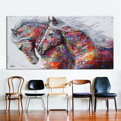 Modern Art Oil Colourful Horse Painting Canvas Print Wall Home Decor Unframed
