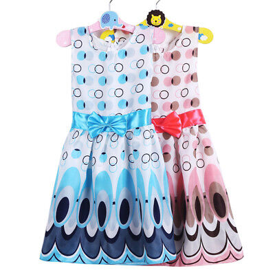 Cute Kids Girls Sleeveless Dresses Child Princess Bow Belt Bubble Peacock Dress