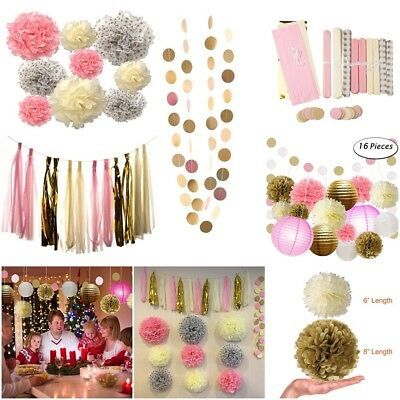 16pcs Wedding Party Decorations Paper Pom Poms Lanterns and Polka Dot Garland