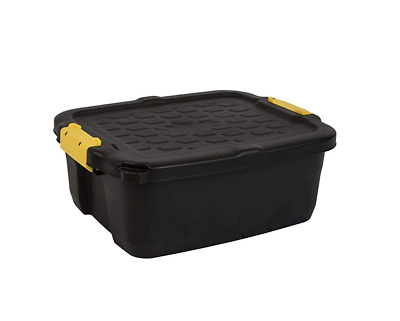 24 Litres Heavy Duty Strata Storage Box Container, Black/Yellow, 50 x 40 x 20 cm