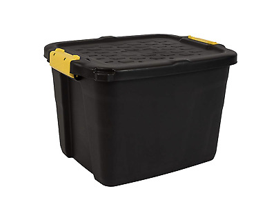 42 Litres Heavy Duty Storage Box, Black Container, Black/Yellow, 50 x 40 x 20 cm