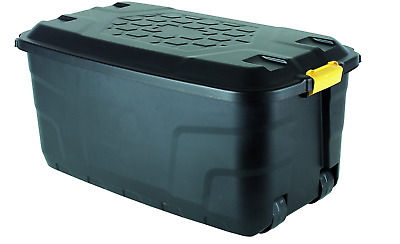 75 Litre Storage Container Box with Wheels - Black Home Office Organiser, Ward