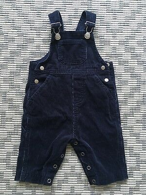 Petit Bateau Baby Boy Girl Navy Blue Corduroy Dungarees. 3 Months. VGC.