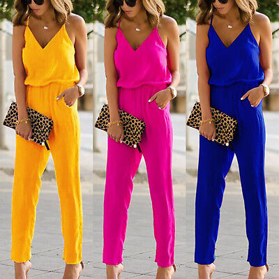 Women's Ladies Strappy Jumpsuit V Neck Romper Trousers Clubwear Summer Sundress