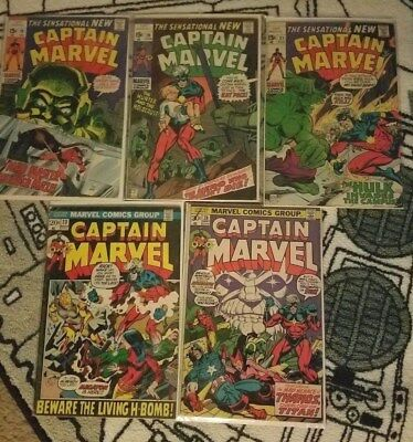 Captain Marvel Silver/Bronze Age 5 Comic Book Lot  19, 20, 21, 23, 28