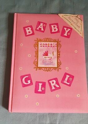 Hallmark Baby Girl Baby Record Book-Illustrated-Book Bound-Pink/Pram-New