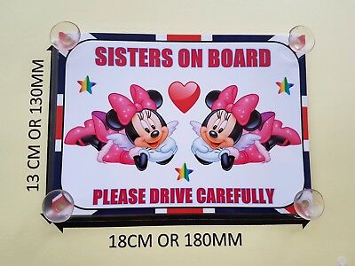 Minnie Mouse sisters On Board Car Laminated Sign