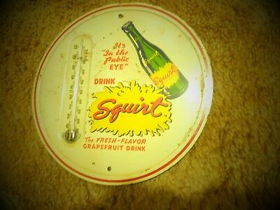 "Vintage Advertisement Metal Drink Squirt Thermometer 9"" Round Grapefruit"