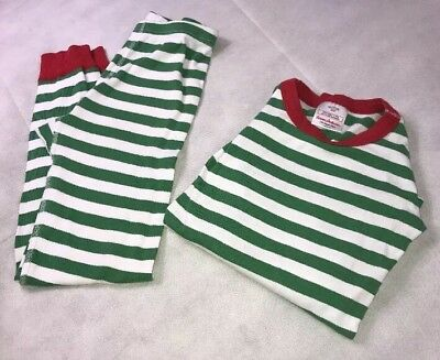 Hanna Andersson  Girls 140 Stripe Two Piece Green And White