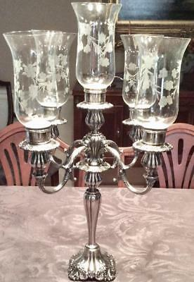 """MASSIVE ~ 23""""~ WALLACE BAROQUE ROCOCO 5 LIGHT CANDELABRA W ETCHED GLASS Globes"""