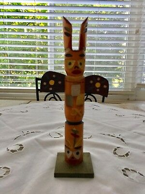 "Vintage Painted Wood Totem Pole From Chesterfield Camp Indiana 10.5"" H"