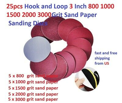 25pcs Hook and Loop 3 Inch 800 1000 1500 2000 3000 Grit Sand Paper Sanding Discs