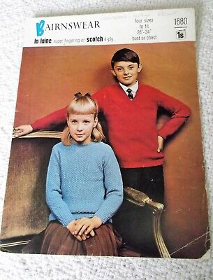 ORIGINAL, VINTAGE, BAIRNSWEAR KNITTING PATTERN No.1680, GIRL'S BOY'S SWEATER
