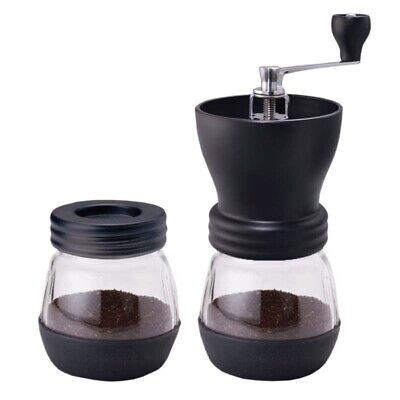 Manual Coffee Grinder With Ceramic Burr Glass Jar And Storage Lid Mill Mix Black