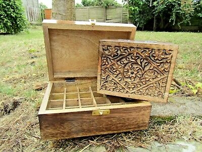 Hand Carved Made Mango Wood Wooden Aromatherapy Essential Oil Box Storage Case