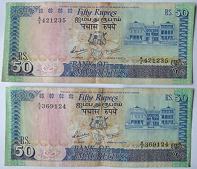 MAURITIUS  ,  P 37a , 50 Rupees  , nd 1986 ,  VF , 2 notes