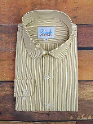 Penny Round Club Collar Shirt in Sand Stripe Top Gold Stud Button Peaky Blinders