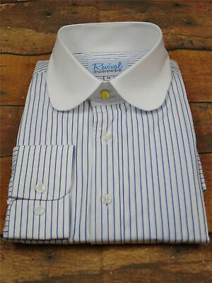Beaumont 1930s 1940s Style Revival Blue Stripe Gold Stud Shirt with Club Collar