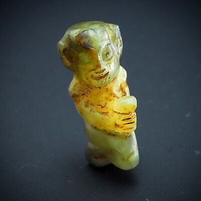 Original Ancient Jade Carved Idol Holding Holy Water Statue Figure Bead Amulet