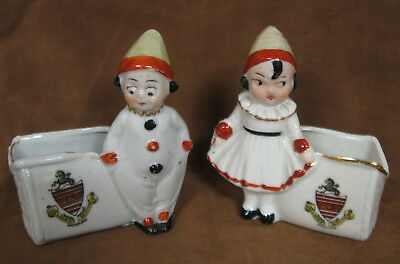 """German Crested Ware Girl and Boy Clowns with Open Baskets, 3"""", Eastbourne"""
