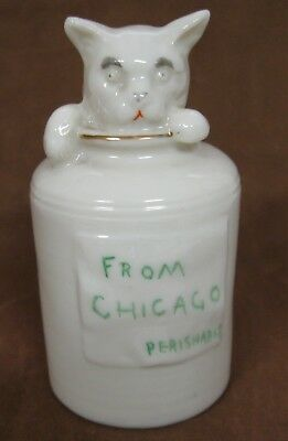 """Grafton China Crested Cat in Milk Can or Churn, """"From Chicago,"""" Bexhill-on-Sea"""