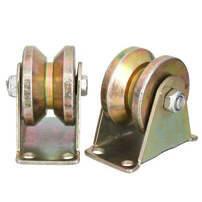 2pcs 660lb 2 Inch V Type Wheel Sliding Gate Roller Steel Wheel Track Rail with B