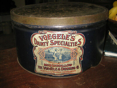 Vtg Voegele'S Dainty Specialties Marshmallow Tin 9Lb Advertising With Invoice