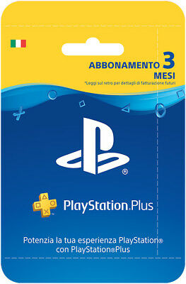Sony PSN Playstation Plus Network Hanging Card Abbonamento 3 Mesi IT IMPORT