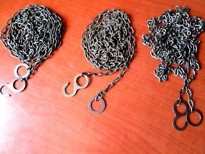 """Lot of 3 Vintage Cuckoo Clock Weight Chains  70""""   62 LPF.   (200V)"""