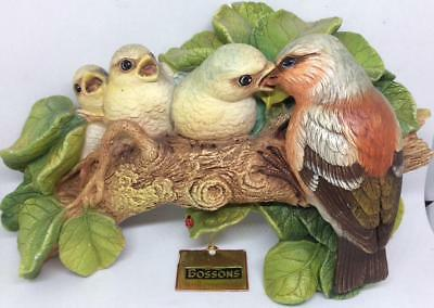 "Vtg 8"" Bossons Bird wall sculpture plaque hanging Mother feeding babies ladybug"